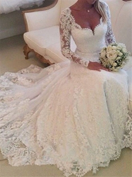 Charming Appliques V Neck Long Sleeves Wedding Dress
