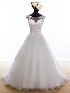Charming Bateau Appliques Sleeves Wedding Dress