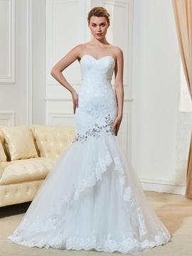 Charming Beaded Sweetheart Lace Mermaid Wedding Dress