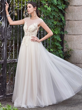 Charming Illusion Neckline Cap Sleeves A Line Backless Wedding Dress