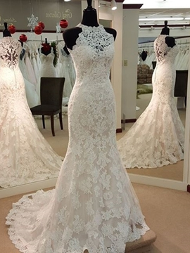 Charming Jewel Appliques Sheath Wedding Dress