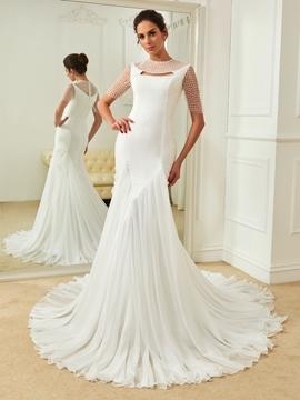 Charming Jewel Lace Mermaid Wedding Dress With Sleeves