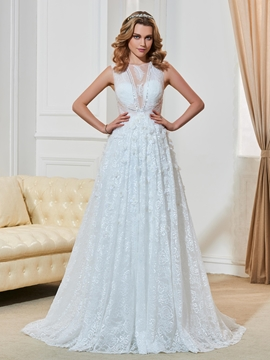 Charming Scoop Illusion Back A Line Lace Wedding Dress