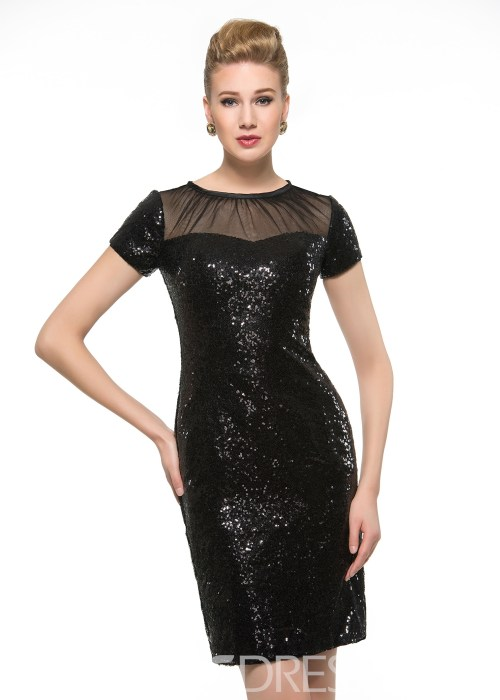 Charming Sequins Short Mother Of The Bride Dress