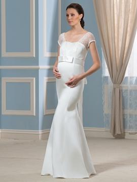Charming Short Sleeves Lace Mermaid Maternity Wedding Dress