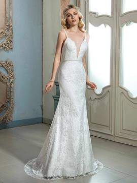 Charming Spaghetti Straps Sheath Lace Wedding Dress