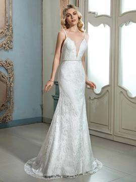 Charming Spaghetti Straps Sheath Lace Wedding Dress
