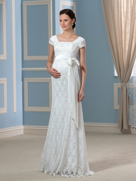 Charming Square Short Sleeves Sheath Lace Maternity Wedding Dress