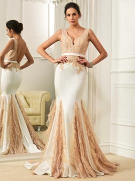 Charming V Neck Backless Mermaid Color Wedding Dress