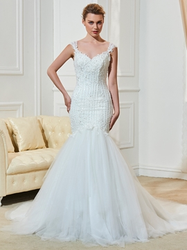 Classic Appliques Beaded Straps Backless Mermaid Wedding Dress