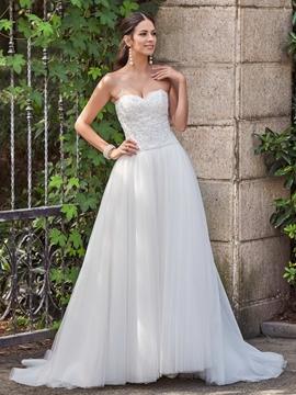 Classic Appliques Beaded Sweetheart A Line Wedding Dress