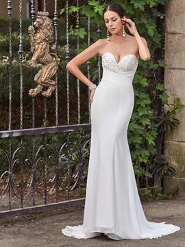 Classic Sweetheart Appliques Beaded Mermaid Wedding Dress