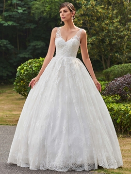 Classic V Neck Ball Gown Lace Wedding Dress