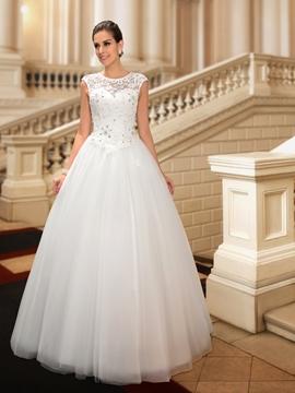 Classy Beaded Lace Jewel Neck Floor Length Princess Wedding Dress