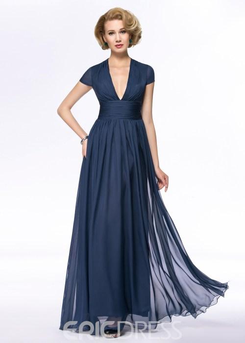 Classy V-Neck A-Line Floor Length Zipper-Up Mother Of the Bride Dress