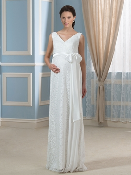 Comfortable V Neck Lace Maternity Wedding Dress