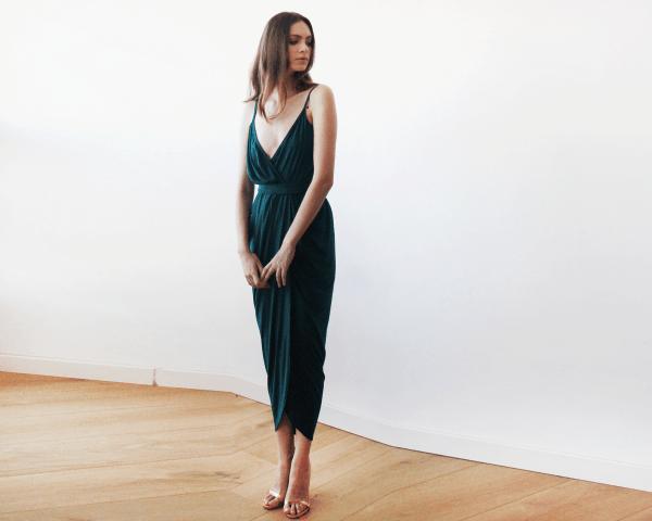 Dark green Wrap maxi dress 1033