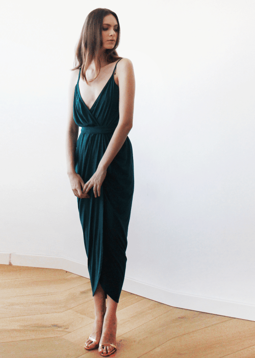 Dark green Wrap maxi dress 1033