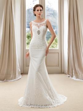 Delicate Scoop Neck Appliques Mermaid Court Train Wedding Dress