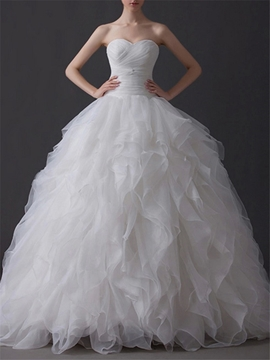 Elegant Ball Gown Sweetheart Tiered Floor Length Charming Wedding Dress