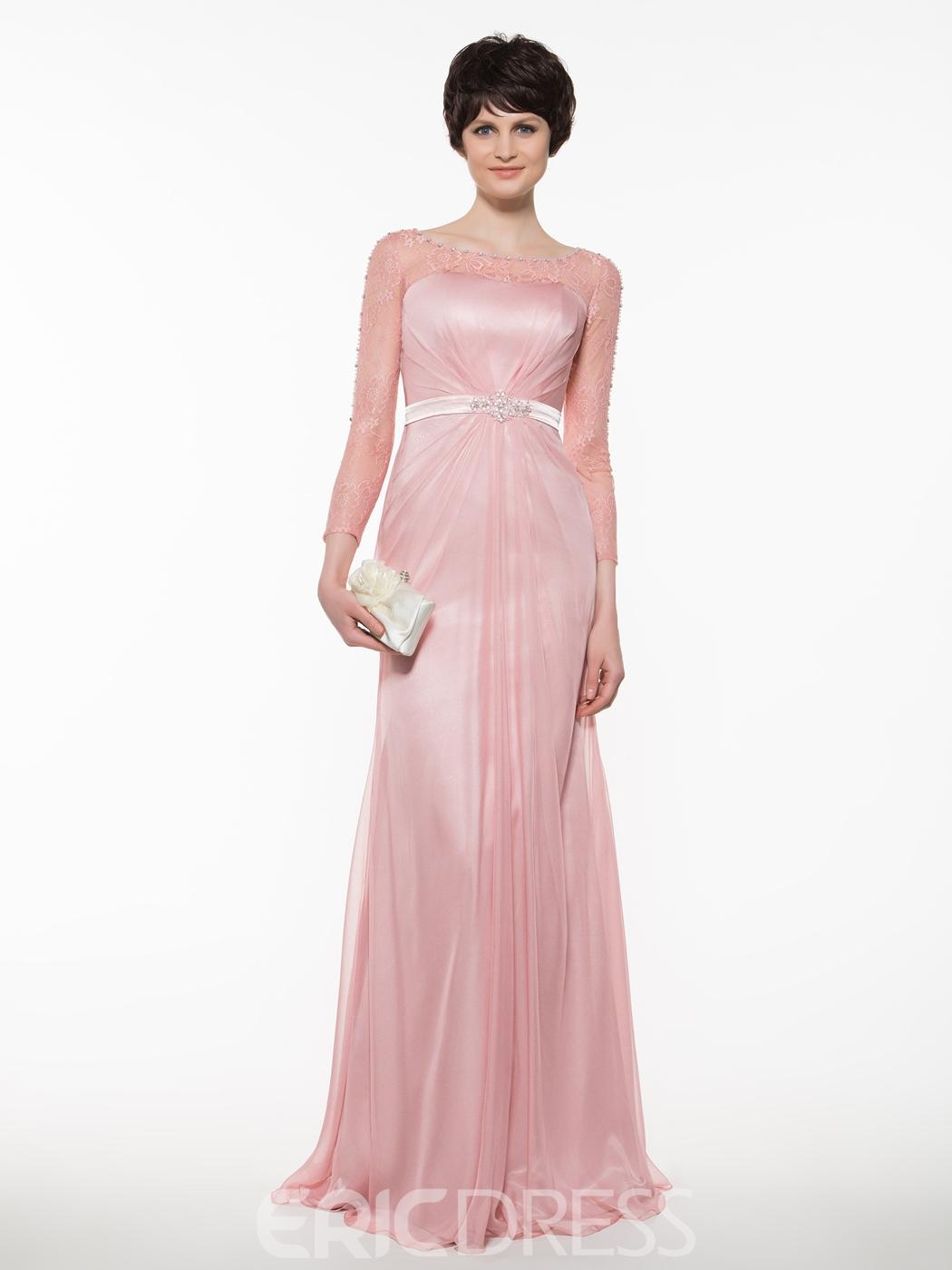 Elegant Bateau A Line Long Mother Of The Bride Dress - Cute Dresses