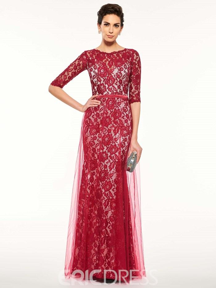 923df2238d8 Elegant Half Sleeves Sheath Lace Long Mother Of The Bride Dress ...