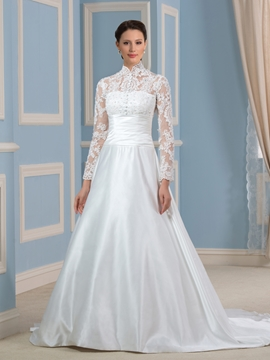 Elegant High Neck A Line Long Sleeves Wedding Dress