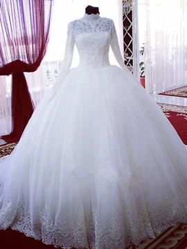 Elegant High Neck Long Sleeves Wedding Dress