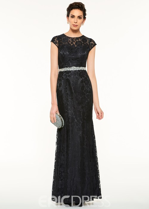 Elegant Jewel Cap Sleeves Beaded Lace Sheath Mother Of The Bride Dress