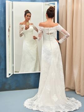 Elegant Off The Shoulder A Line Long Sleeves Lace Wedding Dress