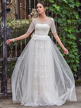 Elegant Scoop A Line Lace Wedding Dress