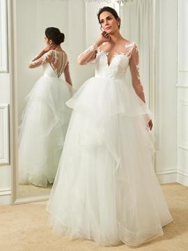 Elegant Scoop Appliques A Line Long Sleeves Wedding Dress
