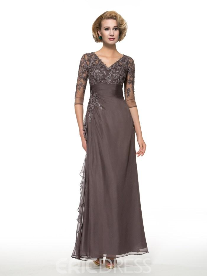 Elegant V Neck Half Sleeves Long Mother of the Bride Dress