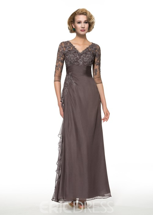 Elegant V Neck Half Sleeves Long Mother of the Bride Dress