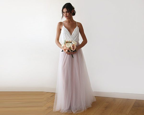 Fairy ivory & pink tulle wedding gown two colors dress 1185