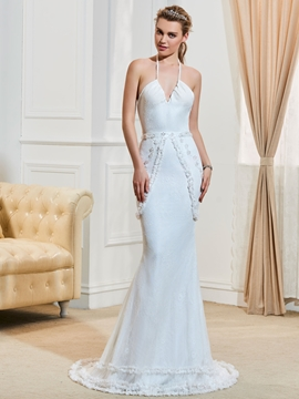Fancy Halter Beaded Lace Mermaid Wedding Dress