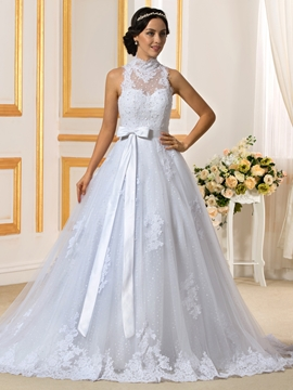 Fancy High Neck Detachable Wedding Dress