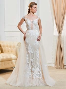 Fancy Illusion Neckline Cap Sleeves Appliques Mermaid Wedding Dress