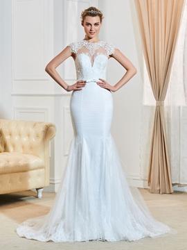 Fancy Jewel Cap Sleeves Appliques Mermaid Wedding Dress