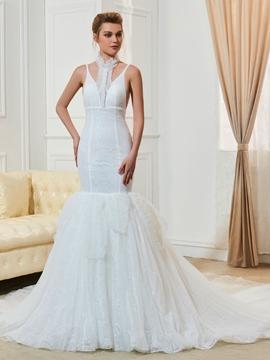 Fancy Mermaid Lace Chapel Train Wedding Dress