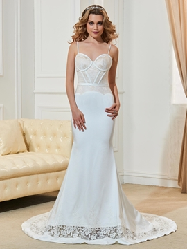 Fancy Spaghetti Straps Lace Backless Mermaid Wedding Dress