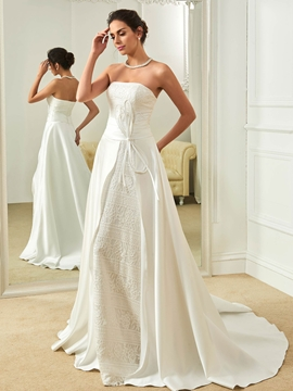 Fancy Strapless A Line Lace Wedding Dress