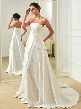 Fancy Strapless A Line Lace Wedding Dress