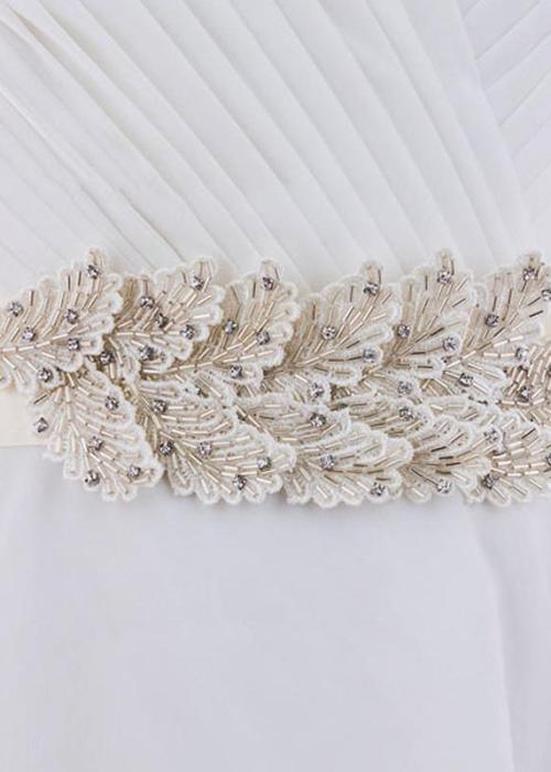 Feather Look Belt Handmade Beading Wedding Accessories Satin Wedding Dress Belt Bridal Ribbon Applique Waistband Sash Belt for Evening Prom Dress