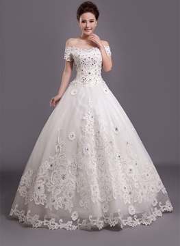 Gorgeous Ball Gown Off the Shoulder Appliques Wedding Dress