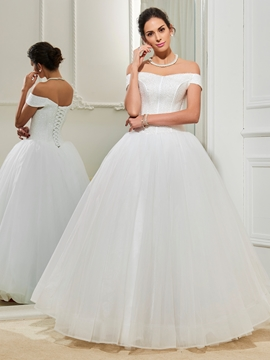Gorgeous Off The Shoulder Ball Gown Wedding Dress