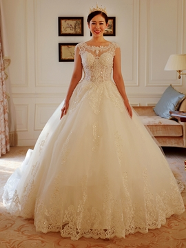 Gorgeous Scoop Appliques Beadings Cathedral Train Wedding Dress