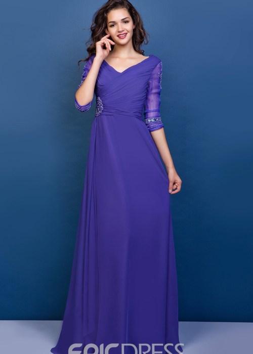 Graceful A-line V-Neck Half Sleeves Floor-Length Appliques Mother of the Bride Dress