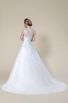 Graceful Beading Applique Zipper-Up A-Line Court Train Wedding Dress