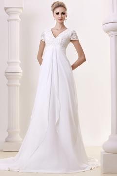 Graceful Empire V-Neck Floor-length Chapel Beading Plus Size Bridal Gown